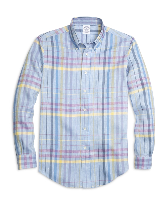 Regent Fit Plaid Linen Sport Shirt Chambray Blue