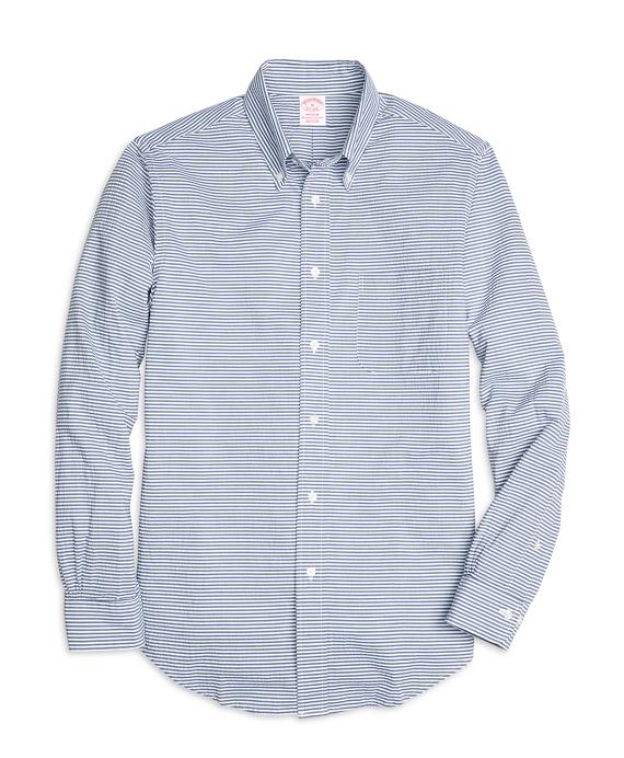 Madison Fit Horizontal Stripe Seersucker Sport Shirt Navy