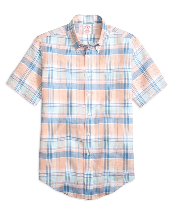 Madison Fit Plaid Linen Short-Sleeve Sport Shirt Coral