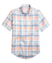 Madison Fit Plaid Linen Short-Sleeve Sport Shirt