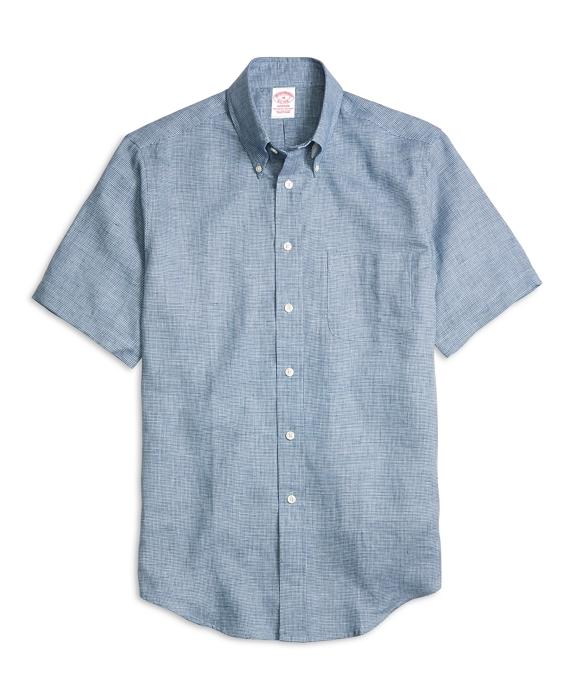 Madison Fit Check Linen Short-Sleeve Sport Shirt Navy