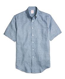 Madison Fit Check Linen Short-Sleeve Sport Shirt