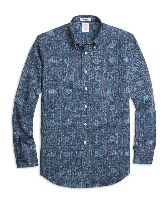 Regent Fit Nautical Print Sport Shirt Navy