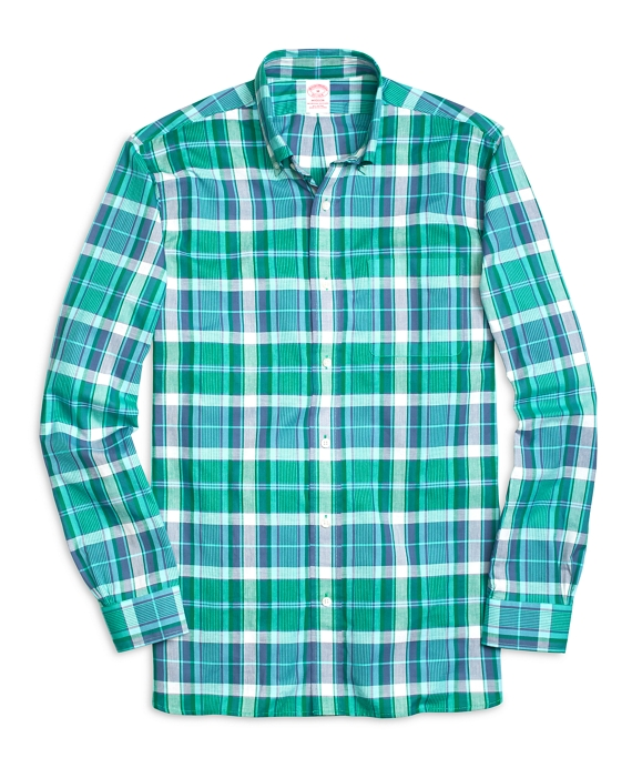 Madison Fit Madras Sport Shirt Green