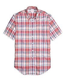 Madison Fit Pink Madras Short-Sleeve Sport Shirt