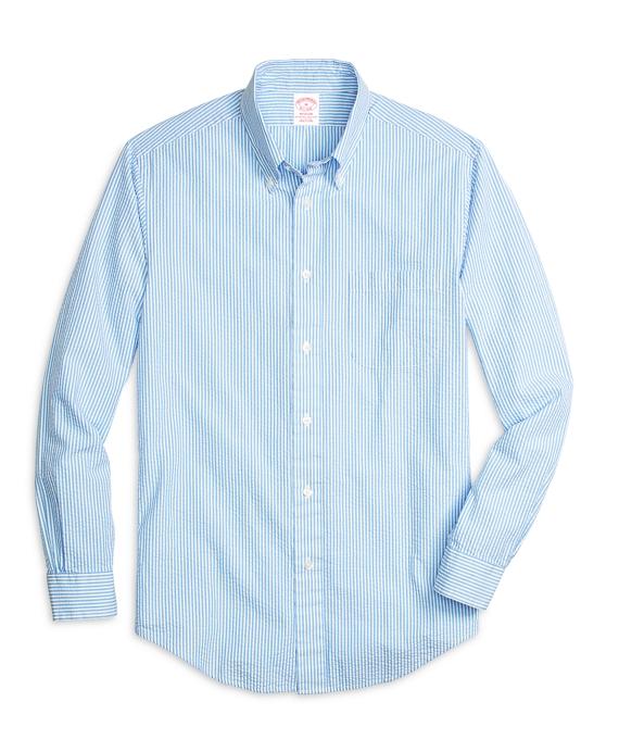 Madison Fit Seersucker Stripe Sport Shirt Blue