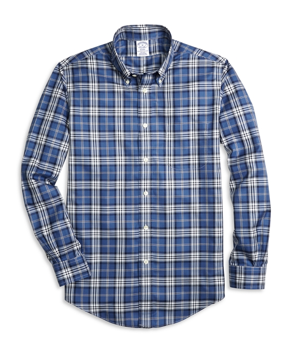 Non-Iron Regent Fit Blanket Plaid Sport Shirt Navy