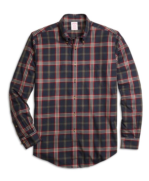 Non-Iron Madison Fit Signature Tartan Sport Shirt Navy