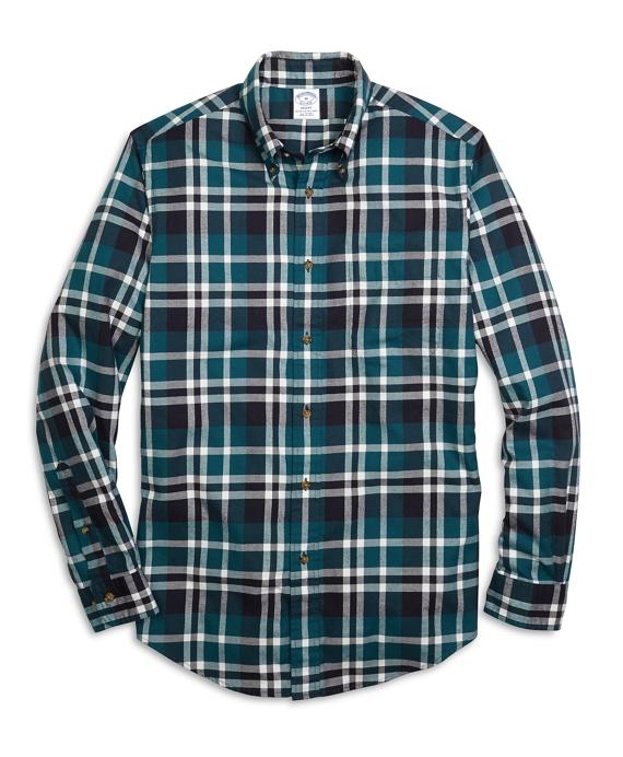 Regent Fit Flannel Grid Plaid Sport Shirt Teal