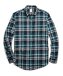 Regent Fit Flannel Grid Plaid Sport Shirt