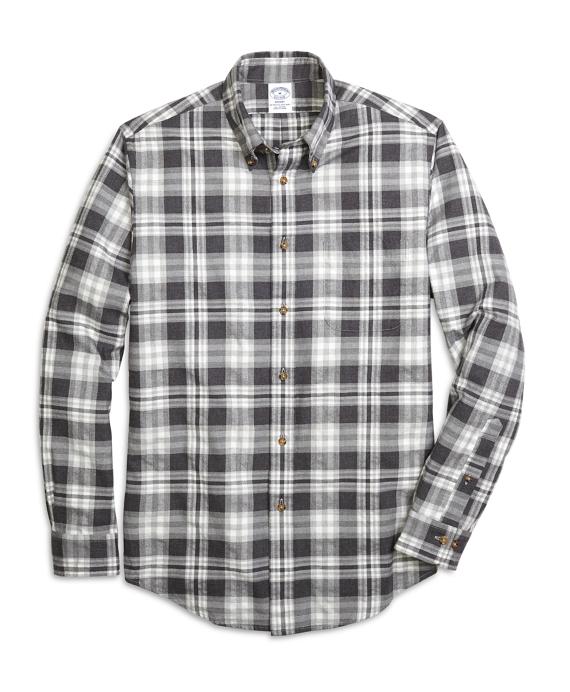 Regent Fit Flannel Heathered Multi Plaid Sport Shirt Grey