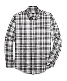 Regent Fit Flannel Heathered Multi Plaid Sport Shirt