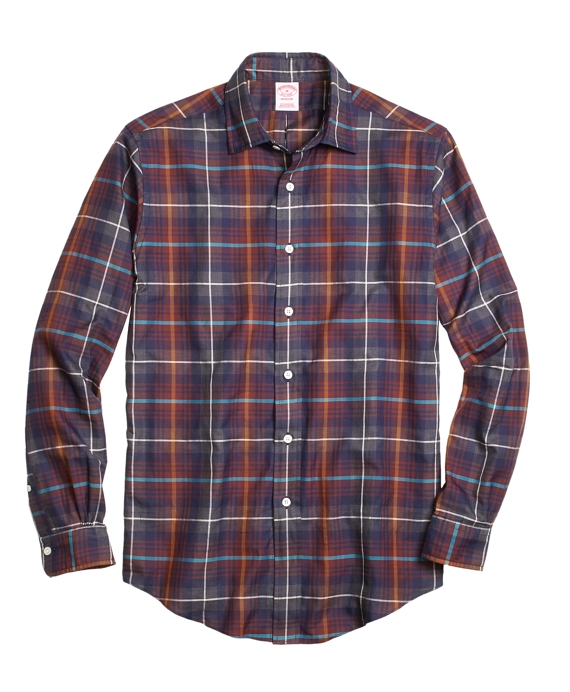 Madison Fit Brown Heathered Plaid Sport Shirt Brown Multi