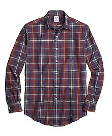 Regent Fit Brown Heathered Plaid Sport Shirt
