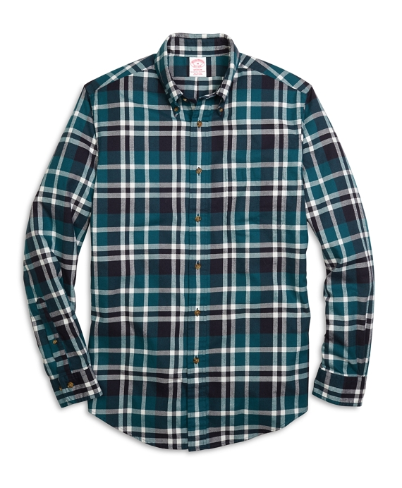 Madison Fit Flannel Grid Plaid Sport Shirt Teal