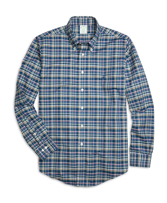 Non-Iron Milano Fit Multiplaid Sport Shirt Navy Multi
