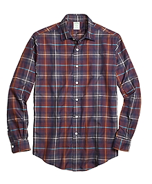 Milano Fit Brown Heathered Plaid Sport Shirt