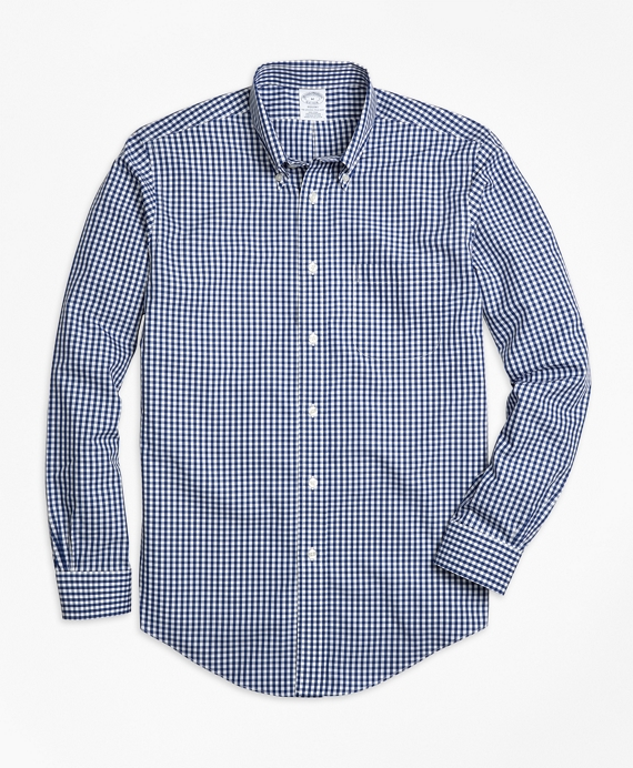 Non-Iron Regent Fit Gingham Sport Shirt Dark Blue