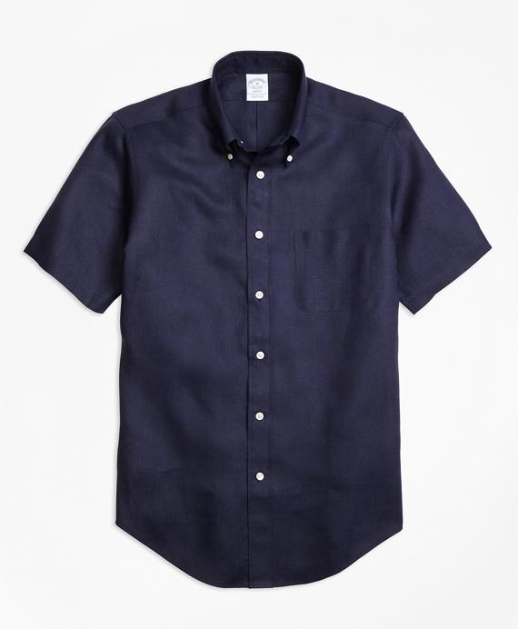 Regent Fit Irish Linen Short-Sleeve Sport Shirt Navy