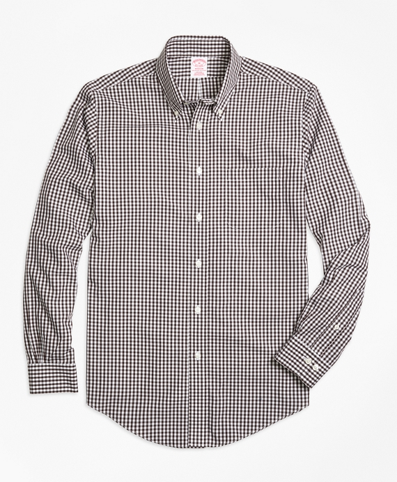 Non-Iron Madison Fit Gingham Sport Shirt Brown