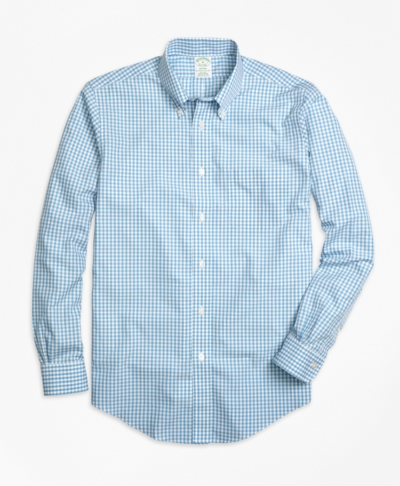 Non-Iron Milano Fit Gingham Sport Shirt Light Blue