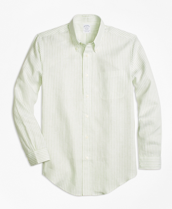 Regent Fit Stripe Irish Linen Sport Shirt Light Green