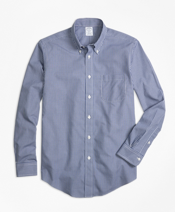Non-Iron Regent Fit Micro Check Sport Shirt Blue
