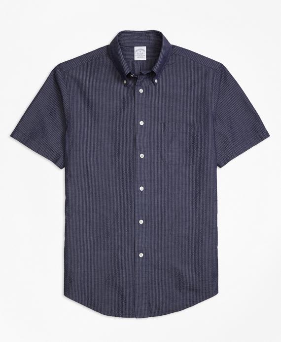 Regent Fit Seersucker Short-Sleeve Sport Shirt Navy