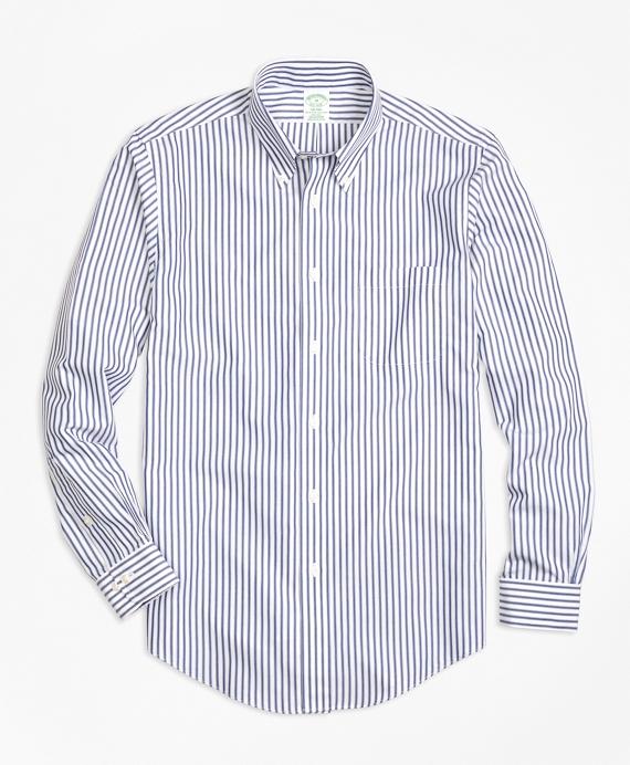 Non-Iron Milano Fit Border Stripe Sport Shirt Blue