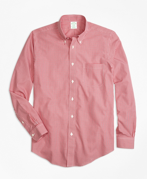 Non-Iron Milano Fit Micro Check Sport Shirt Red