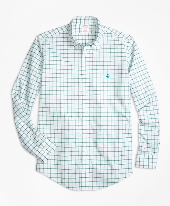 Non-Iron BrooksCool® Madison Fit Windowpane Sport Shirt Green
