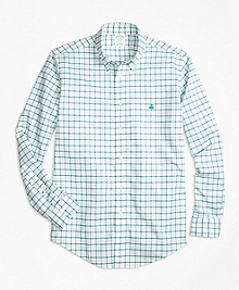 Non-Iron BrooksCool® Milano Fit Windowpane Sport Shirt
