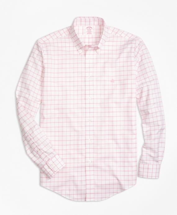 Non-Iron BrooksCool® Milano Fit Windowpane Sport Shirt Rose