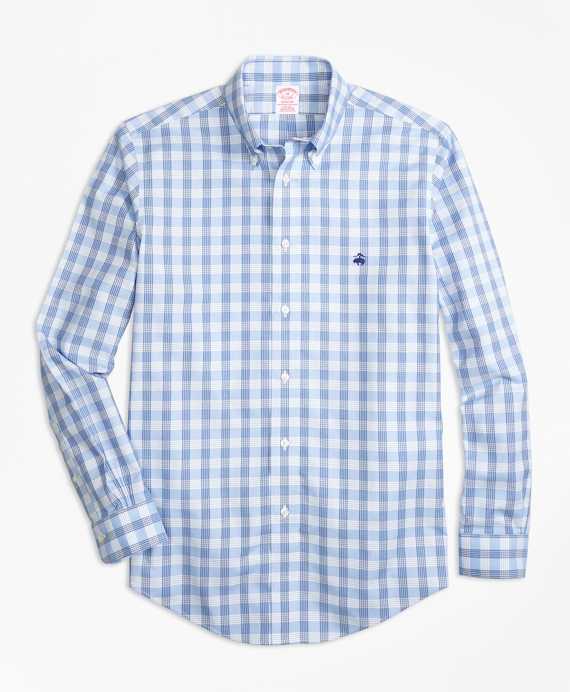 Non-Iron BrooksCool® Madison Fit Check Sport Shirt Blue