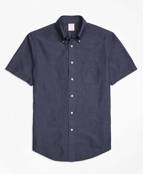 Madison Fit Seersucker Short-Sleeve Sport Shirt Navy