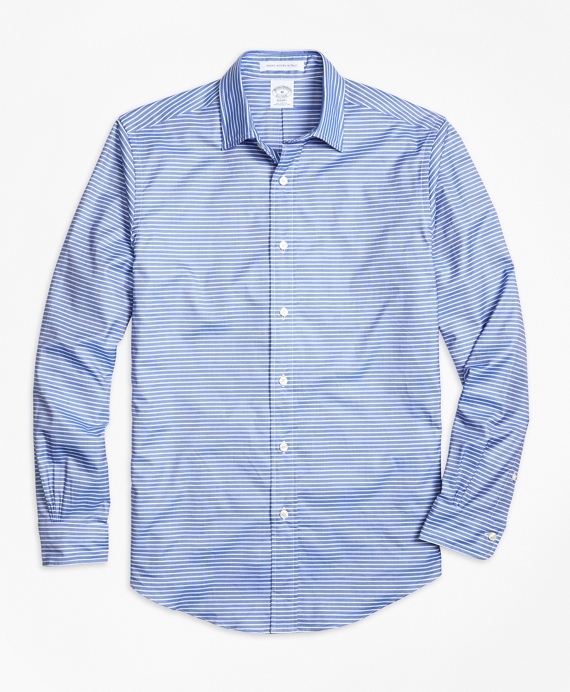 Regent fit Horizontal Stripe Sport Shirt Blue
