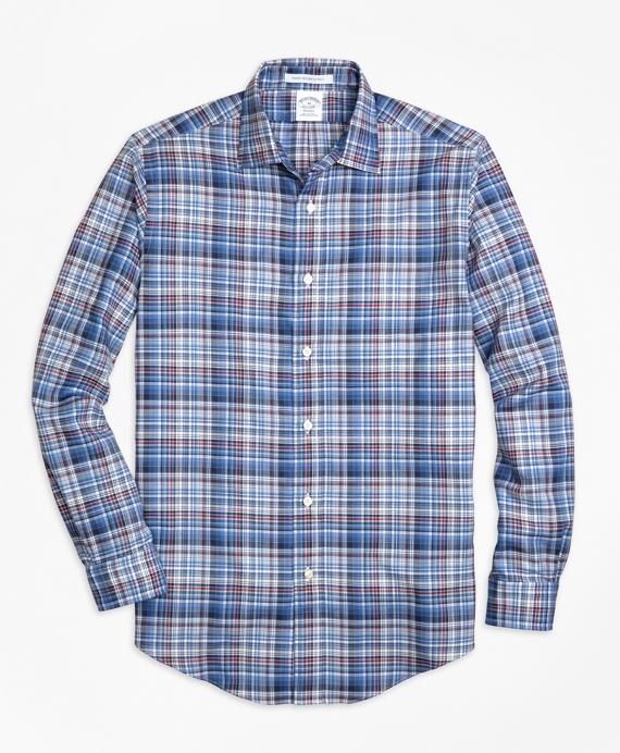 Regent Regular-Fit Sport Shirt, Plaid Melange Blue