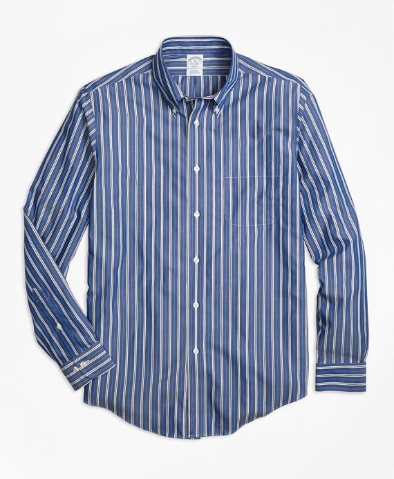 Non-Iron Regent Fit Blue Stripe Sport Shirt Blue