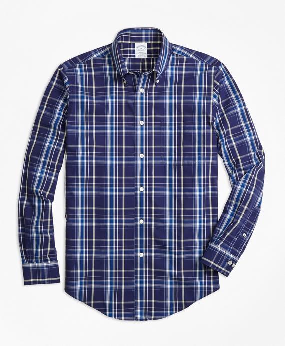 Non-Iron Regent Fit Navy Plaid Sport Shirt Navy