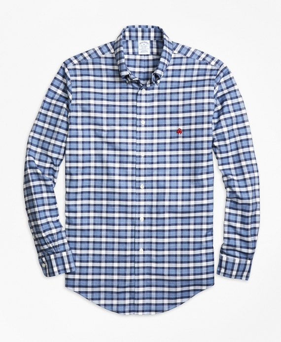 Non-Iron Regent Fit Heathered Check  Sport Shirt Navy