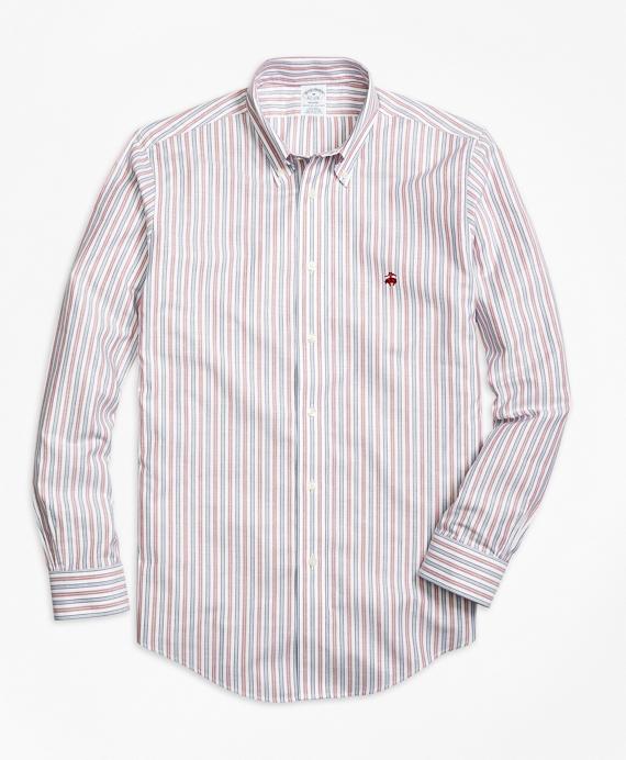 Non-Iron Regent Fit Vintage Stripe Sport Shirt Red