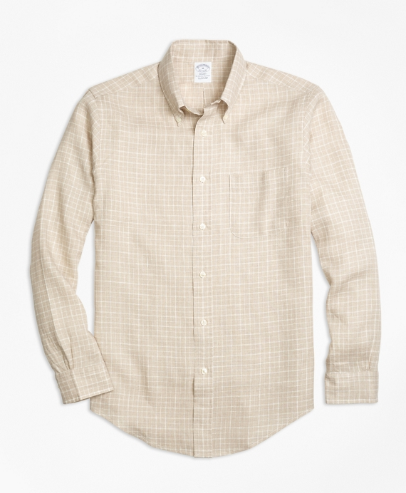 Regent Fit Check Irish Linen Sport Shirt Natural
