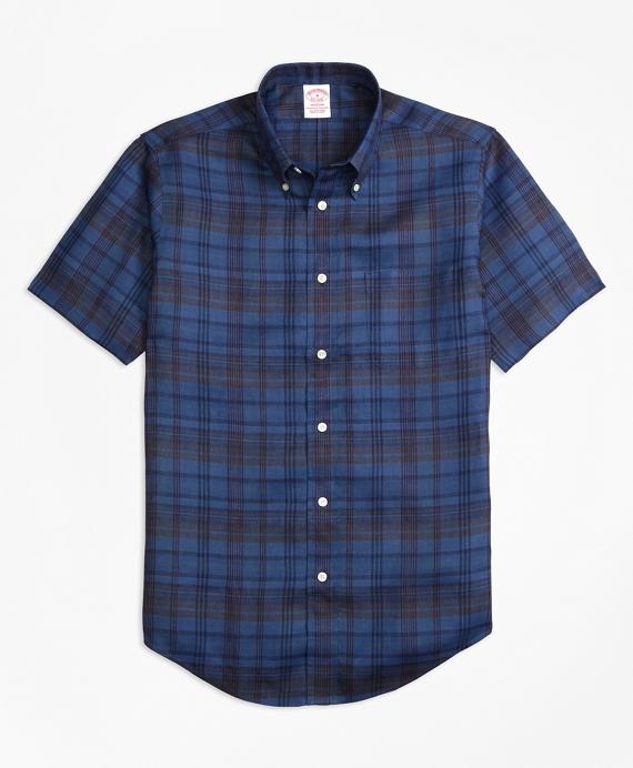 Madison Fit Plaid Irish Linen Short-Sleeve Sport Shirt Navy
