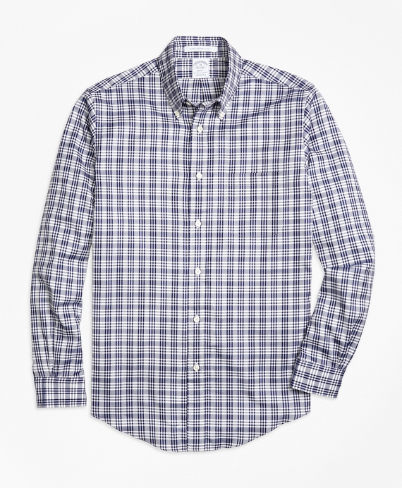 Madison Fit Plaid Sport Shirt Blue