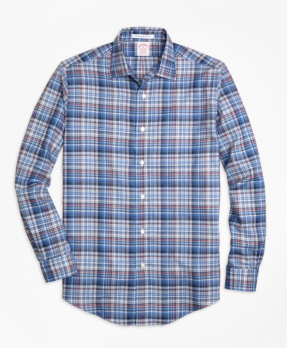 Madison Fit Plaid Melange Sport Shirt Blue