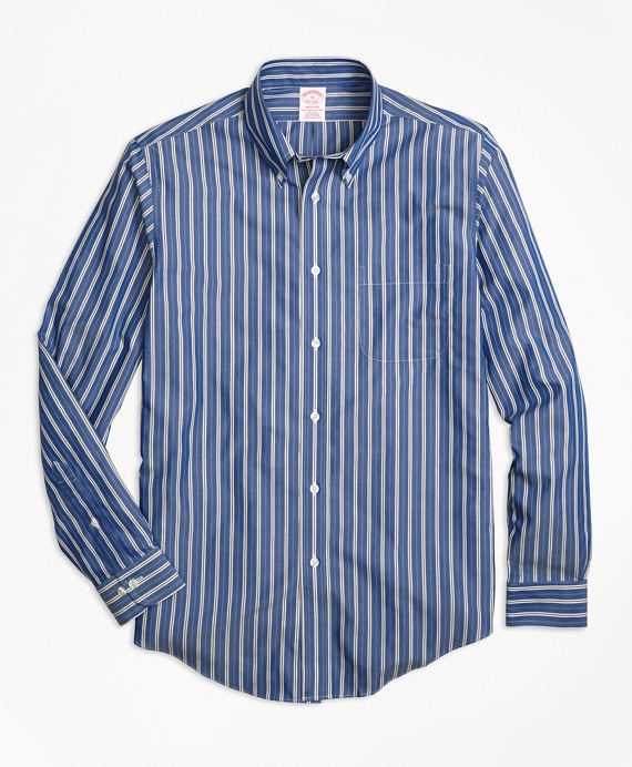 Non-Iron Madison Fit Blue Stripe Sport Shirt Blue