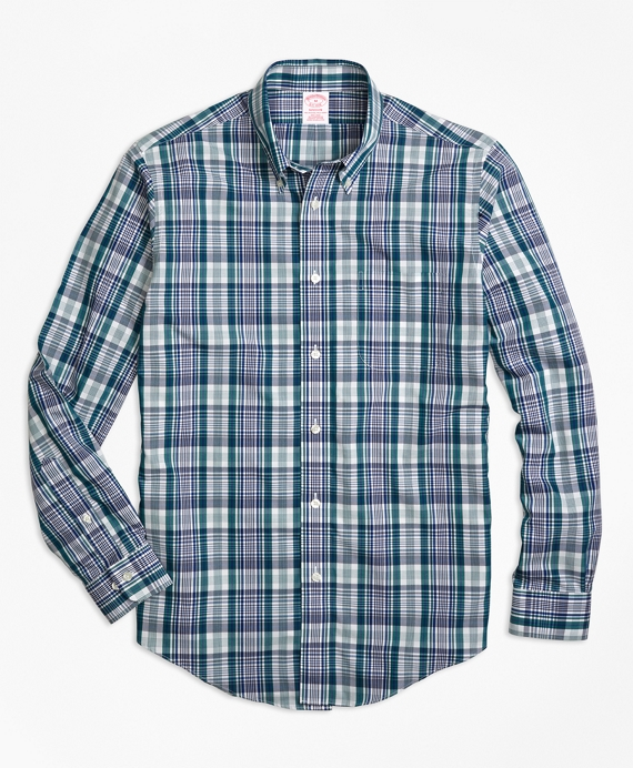 Non-Iron Madison Fit Green Plaid Sport Shirt Green