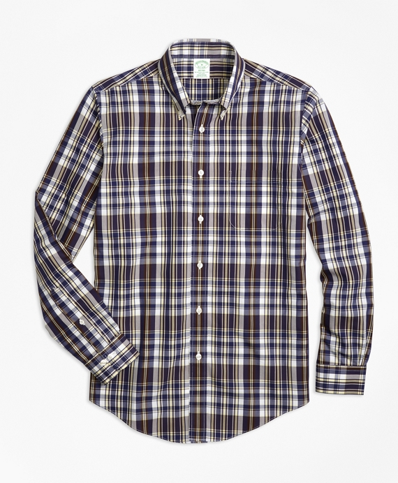 Non-Iron Milano Fit Plaid Sport Shirt Brown