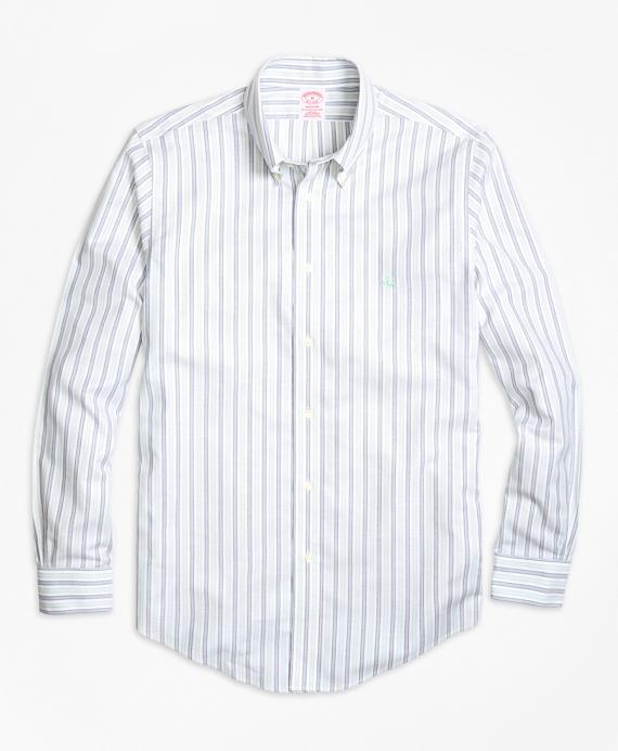Non-Iron Madison Fit Vintage Stripe Sport Shirt Aqua