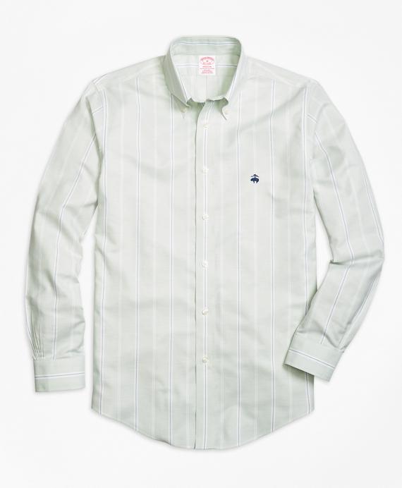 Non-Iron Madison Fit Wide Stripe Sport Shirt Aqua